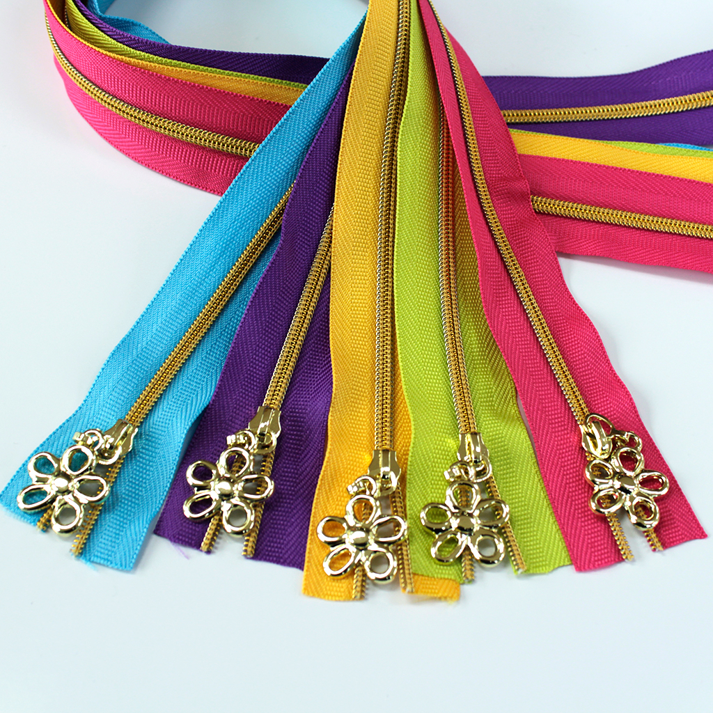 Spring Zipper Kit with Gold Coil