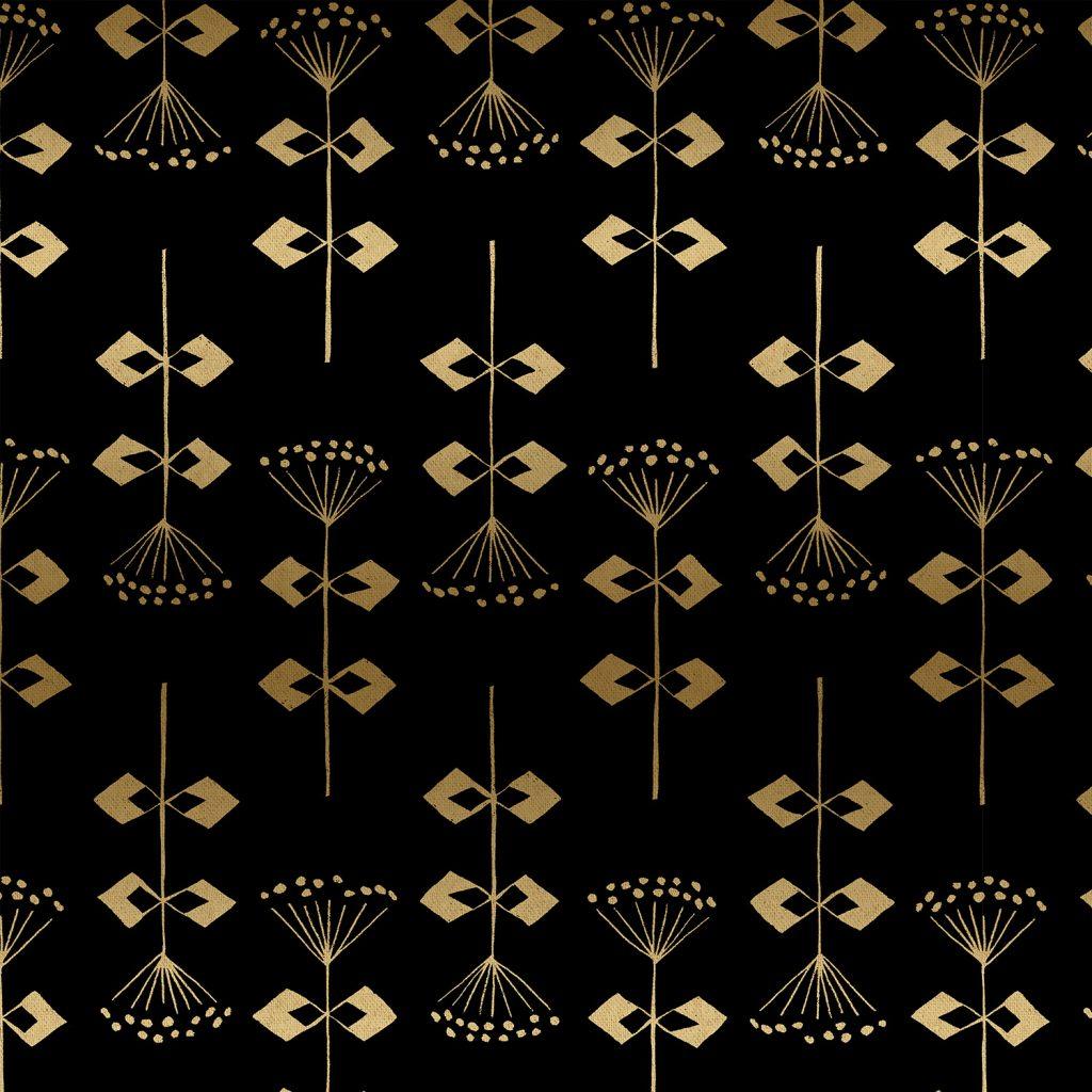 Neko and Tori - Penpengusa - Black Canvas Metallic Fabric