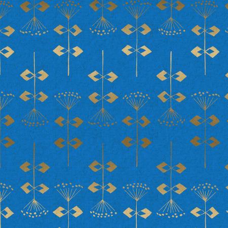 Neko and Tori – Penpengusa – Blue Canvas Metallic Fabric