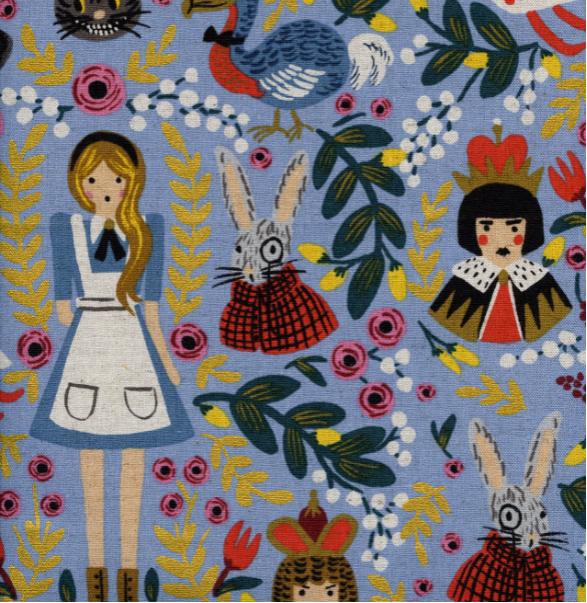 Wonderland – Wonderland – Light Blue Canvas Metallic Fabric