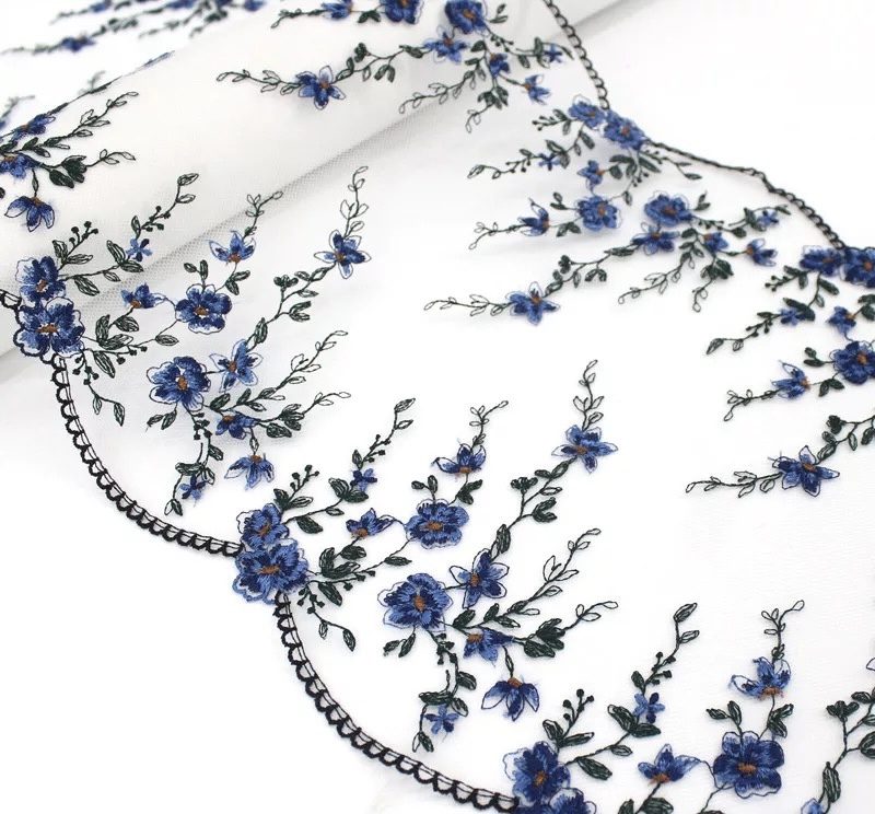 """Blue Flowers Embroidered Tulle Lace – 9 1/4"""" (23.5 cm)"""