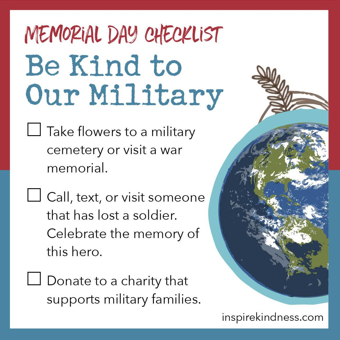 memorial day kindness checklist
