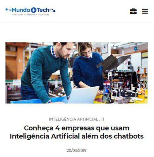 Matéria publicada no Mundo+Tech da Embratel