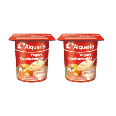 Yogurt Alqueria Cuchareable Melocoton X 100 Grs X 4 Unds