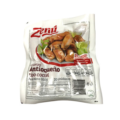 Chorizo Coctel Zenú X 300 Grs