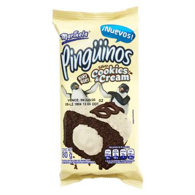 Ponqué Pingüinos Cookies Cream X 80 Grs