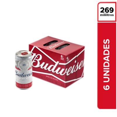 Cerveza  Budweiser Lata 265 Ml X 6 Unds
