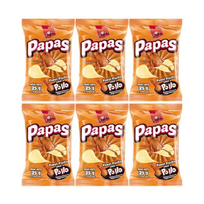 Pasabocas Papas Pollo Chefrito 25 Grs X 12 Unds
