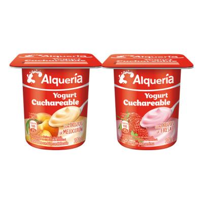 Yogurt Alqueria Cuchareable Fresa-meloctón 100 Grs X 4 Unds