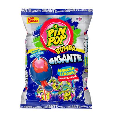 Chupeta Pin Pop Bumba Gigante Mancha Lengua Moraazul - Fresa  X 24 Unds
