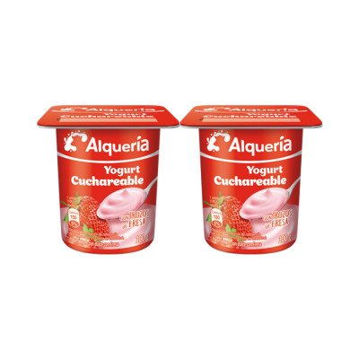 Yogurt Alqueria Cuchareable Fresa X100 Grs X 4 Unds