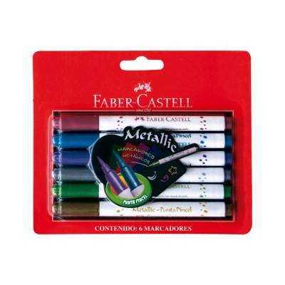 Plumones Faber Castell Metalicos X 6 Unds