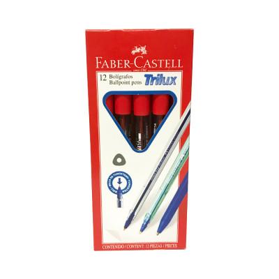 Boligrafo Faber Castell Trilux 032 Rojo X 12 Unds