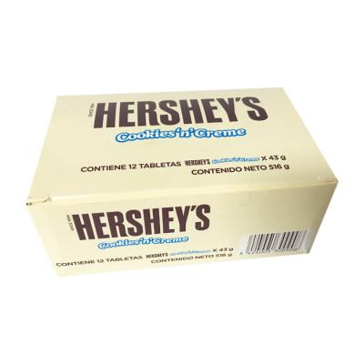 Chocolatina Hersheys Cookies'n'creme Tableta  43 Grs X 12 Unds