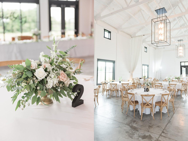 beautiful classic white wedding reception at Ashton hill farm