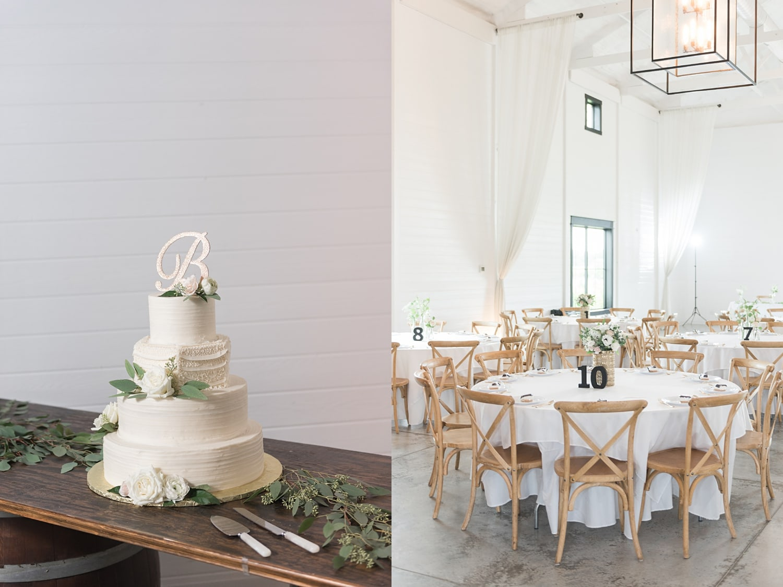 traditional 4 tiered white wedding cake and white wedding reception at Ashton hill farm