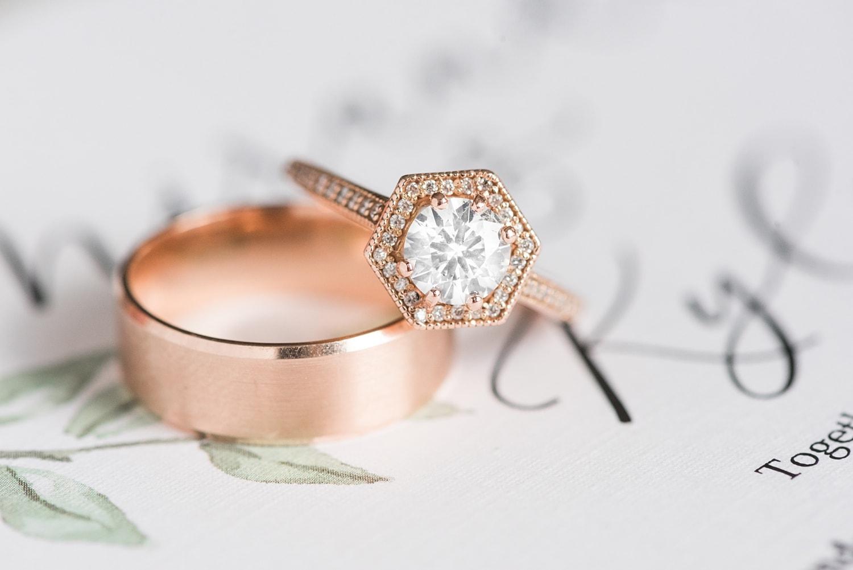 unique hexagon rose gold wedding ring