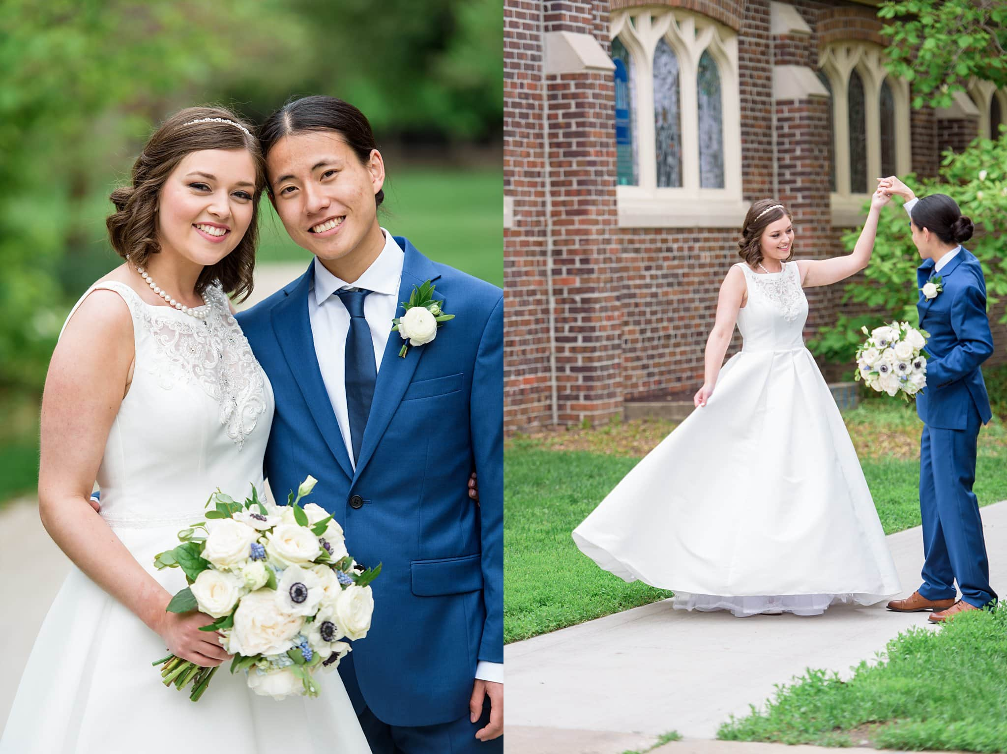 bride and groom in front of grinnell college for wedding