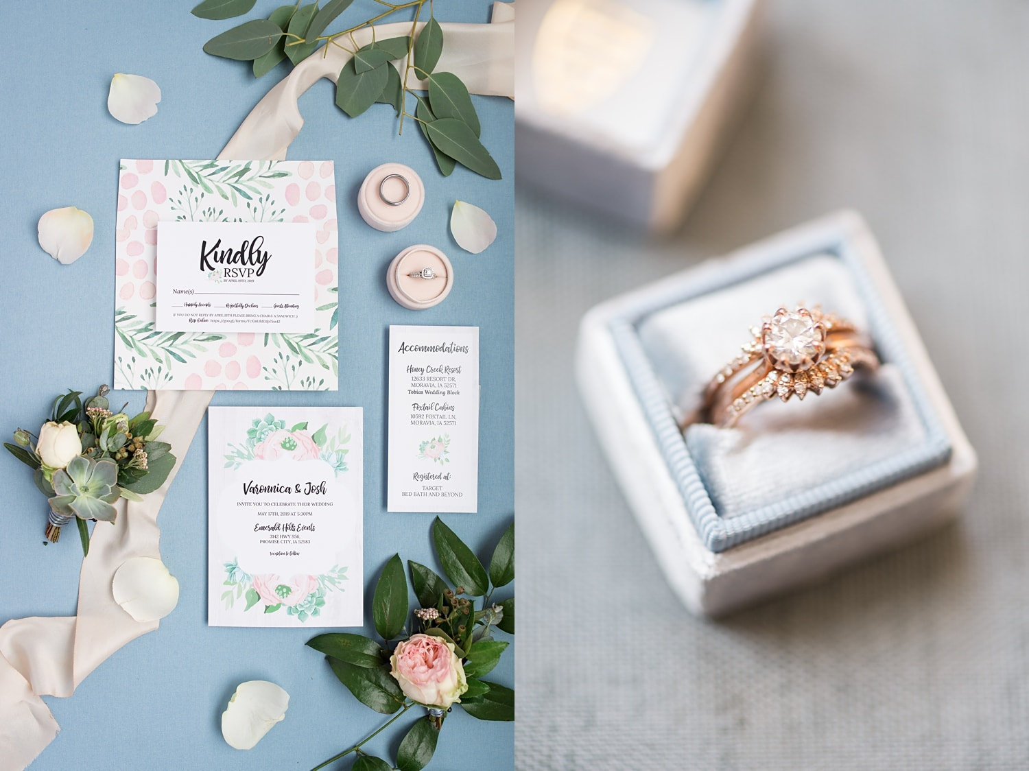 dusty blue mrs ring box and wedding invitations