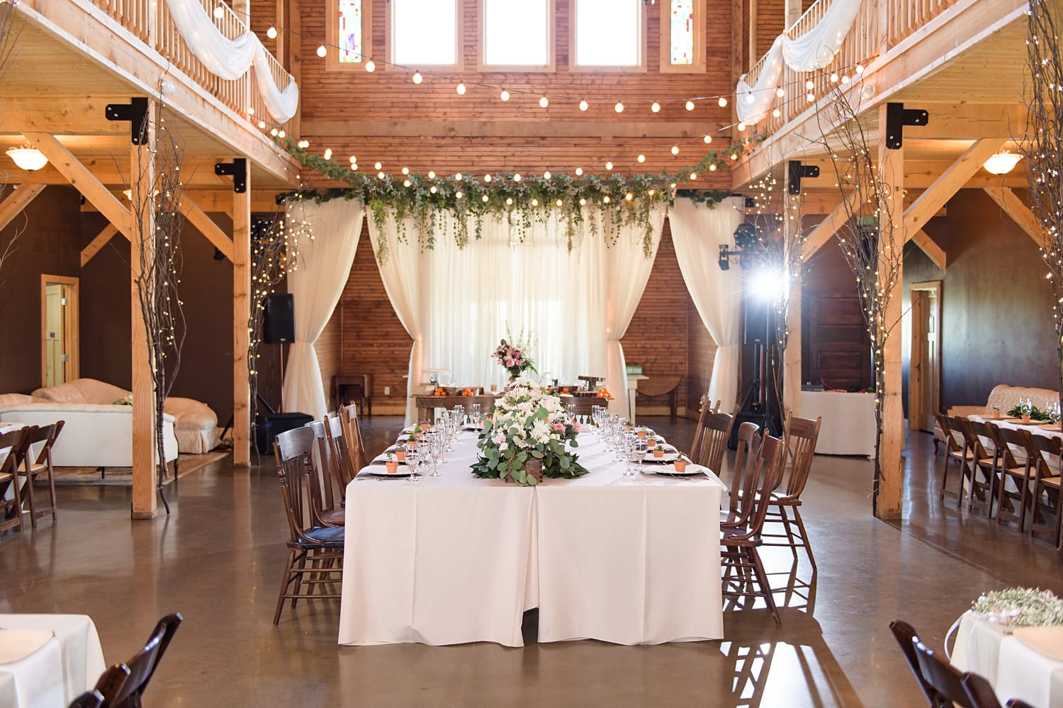 kings table for wedding reception at sugar grove