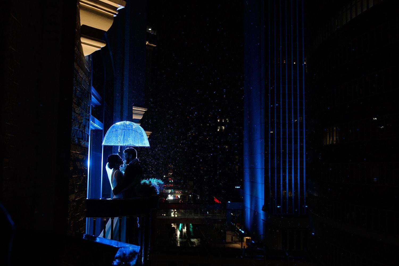 Des Moines tea room balcony at night