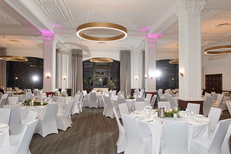 Des Moines tea room white wedding reception