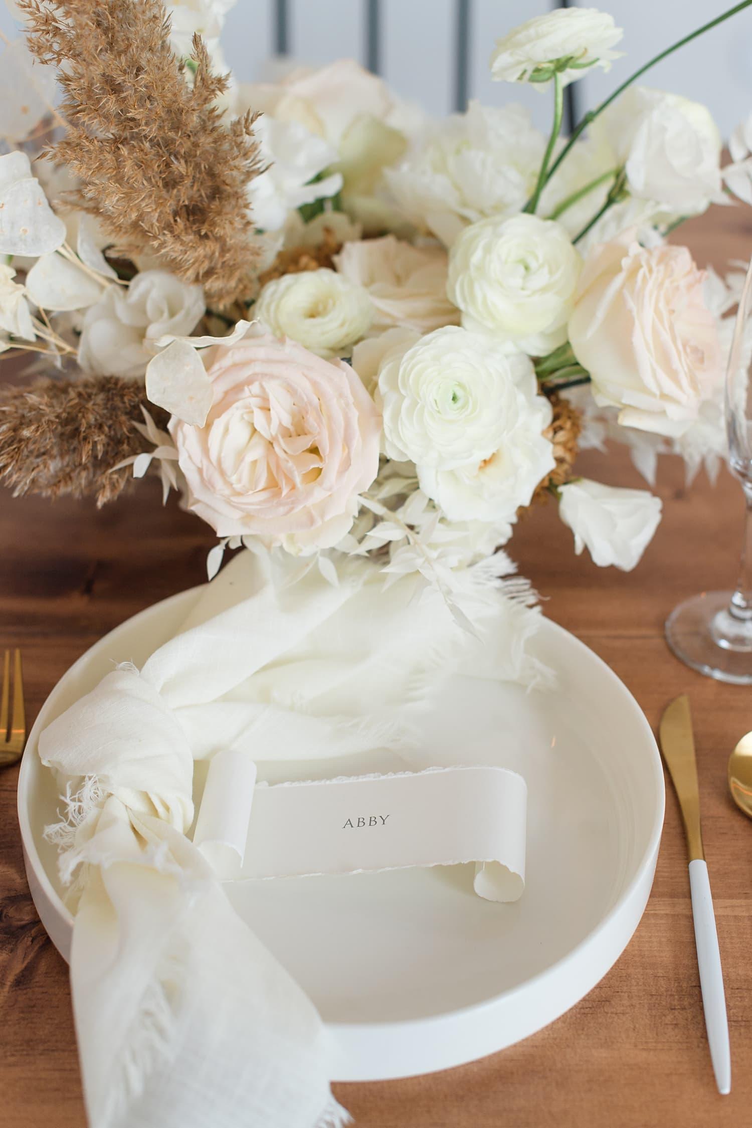 mod boho elegant wedding reception table setting