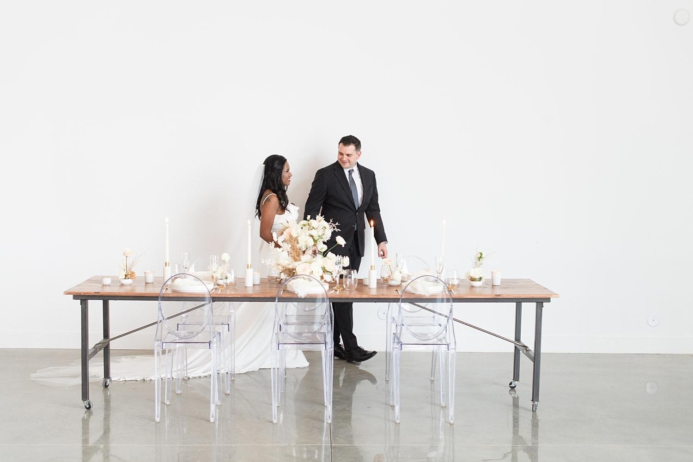 elegant boho mod wedding reception decor