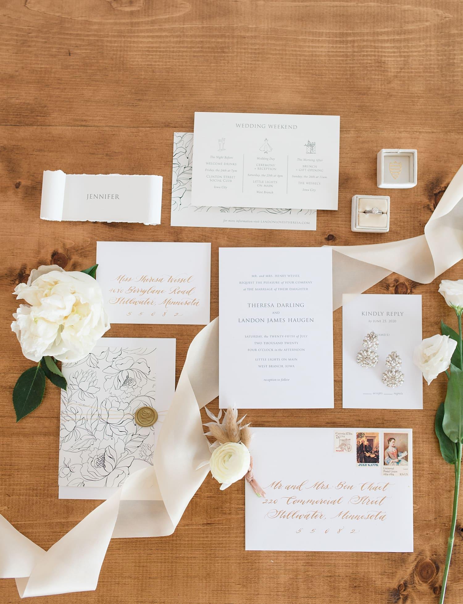 champgne press white wedding invitations