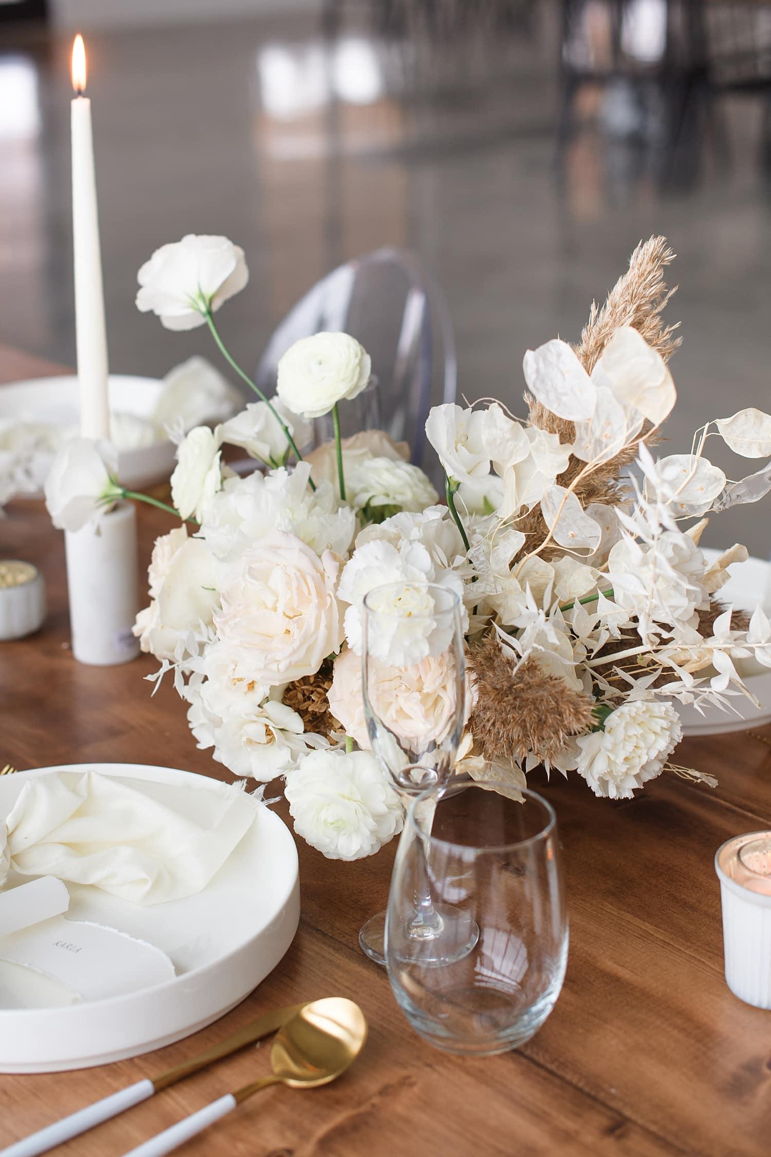 mod boho white wedding centerpiece