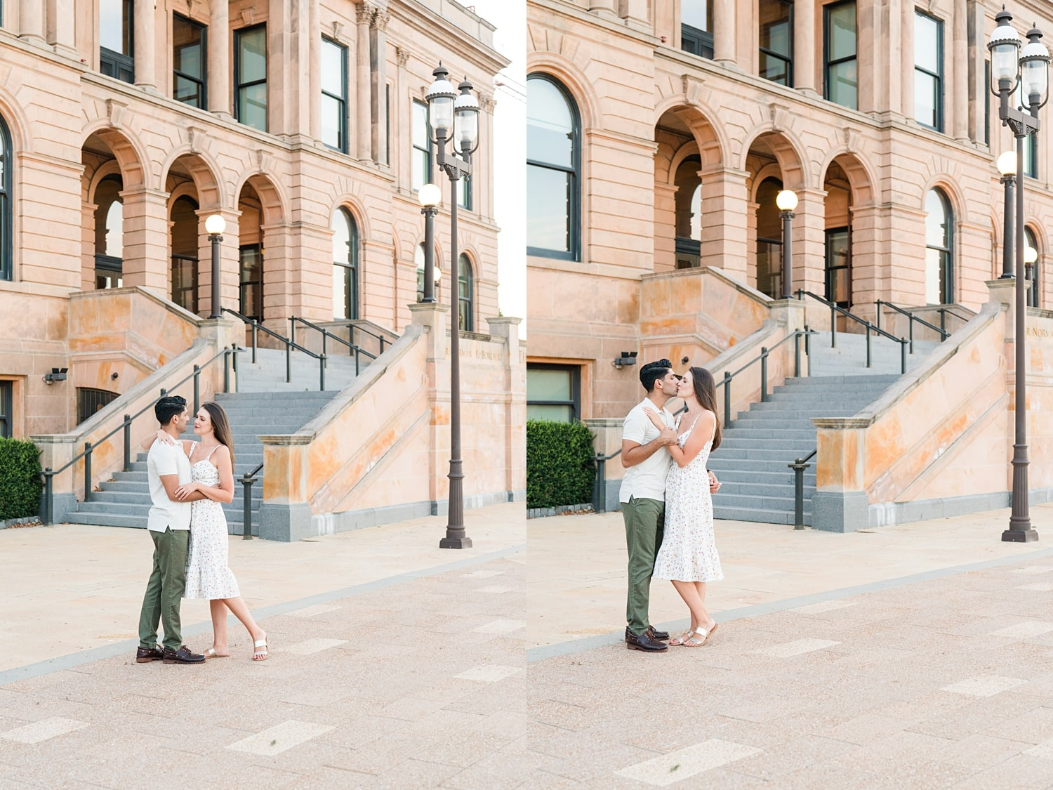 downtown des moines engagement session at world food prize building