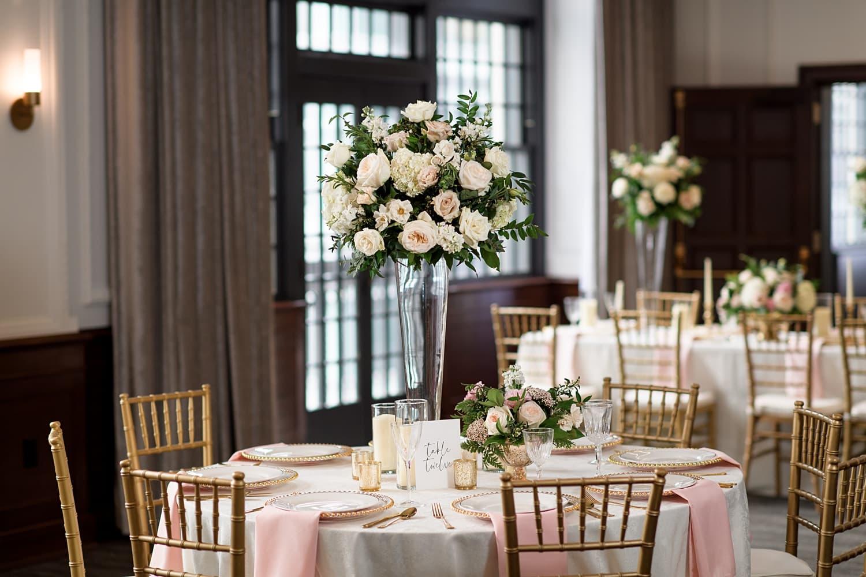 blush and gold Des Moines tea room formal wedding reception