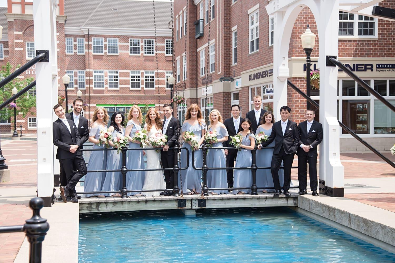 bridal party over molengracht in pella