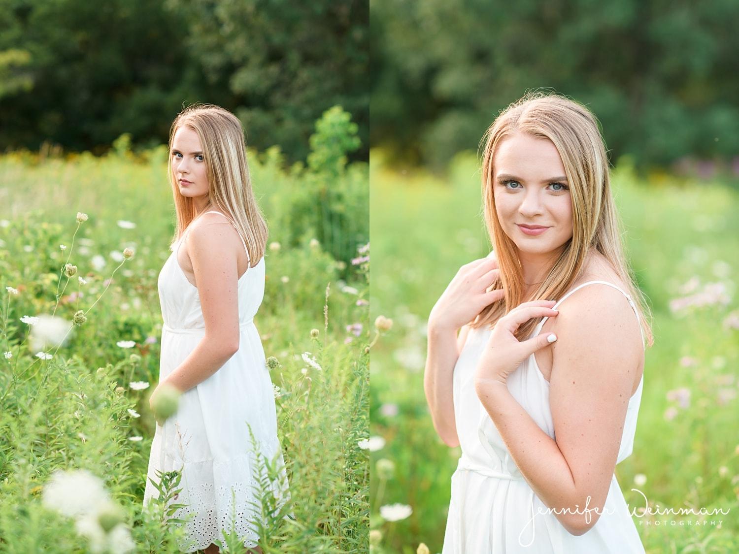 white dress senior photos