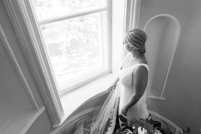 stairwell on wedding day