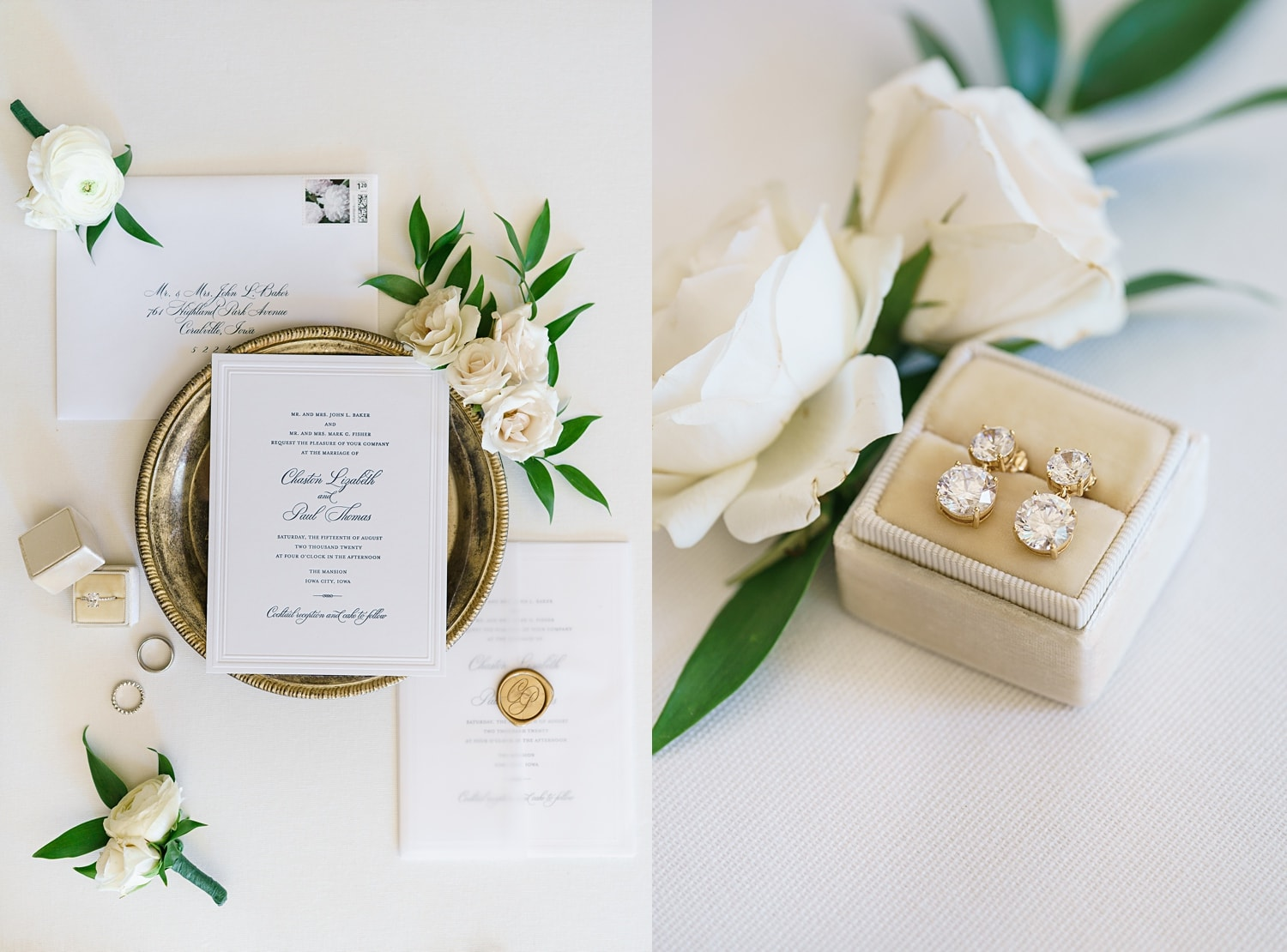 wedding invitation and earrings