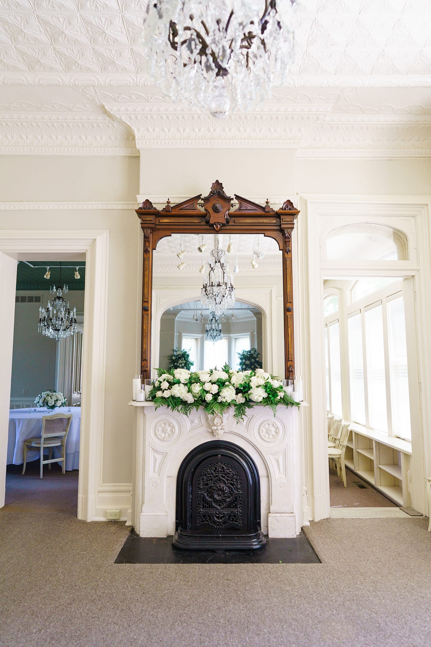 floral mantel installation by hydrangea bloom