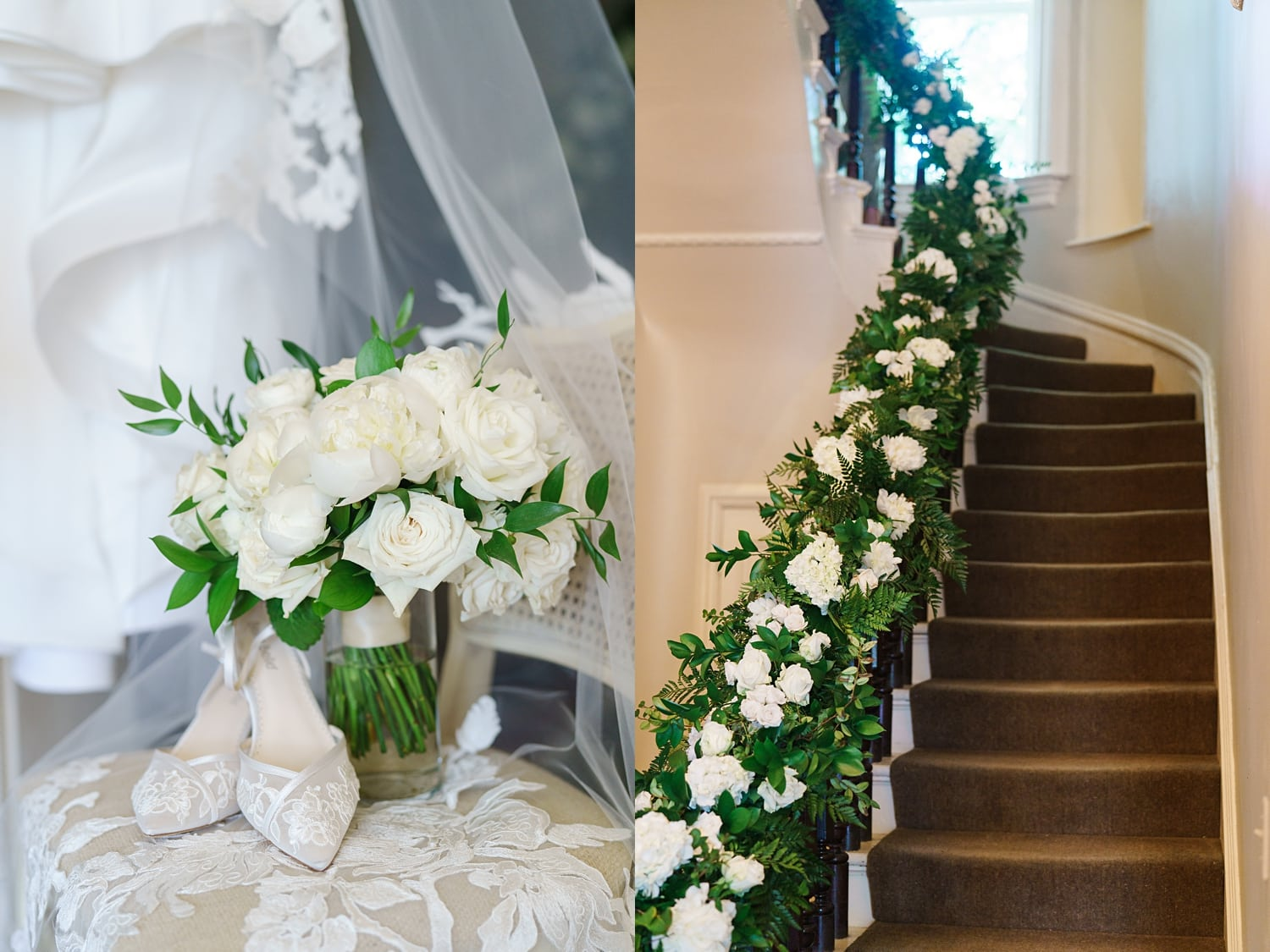 wedding floral staircase