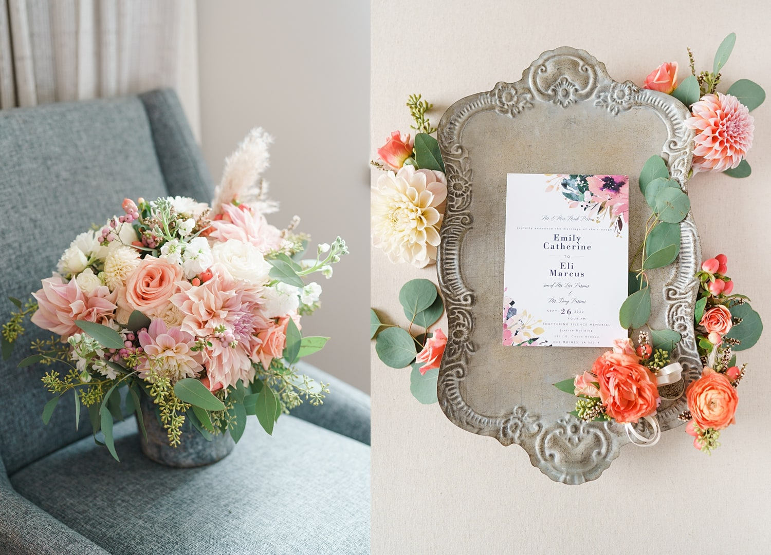 wedding bouquets and invitations