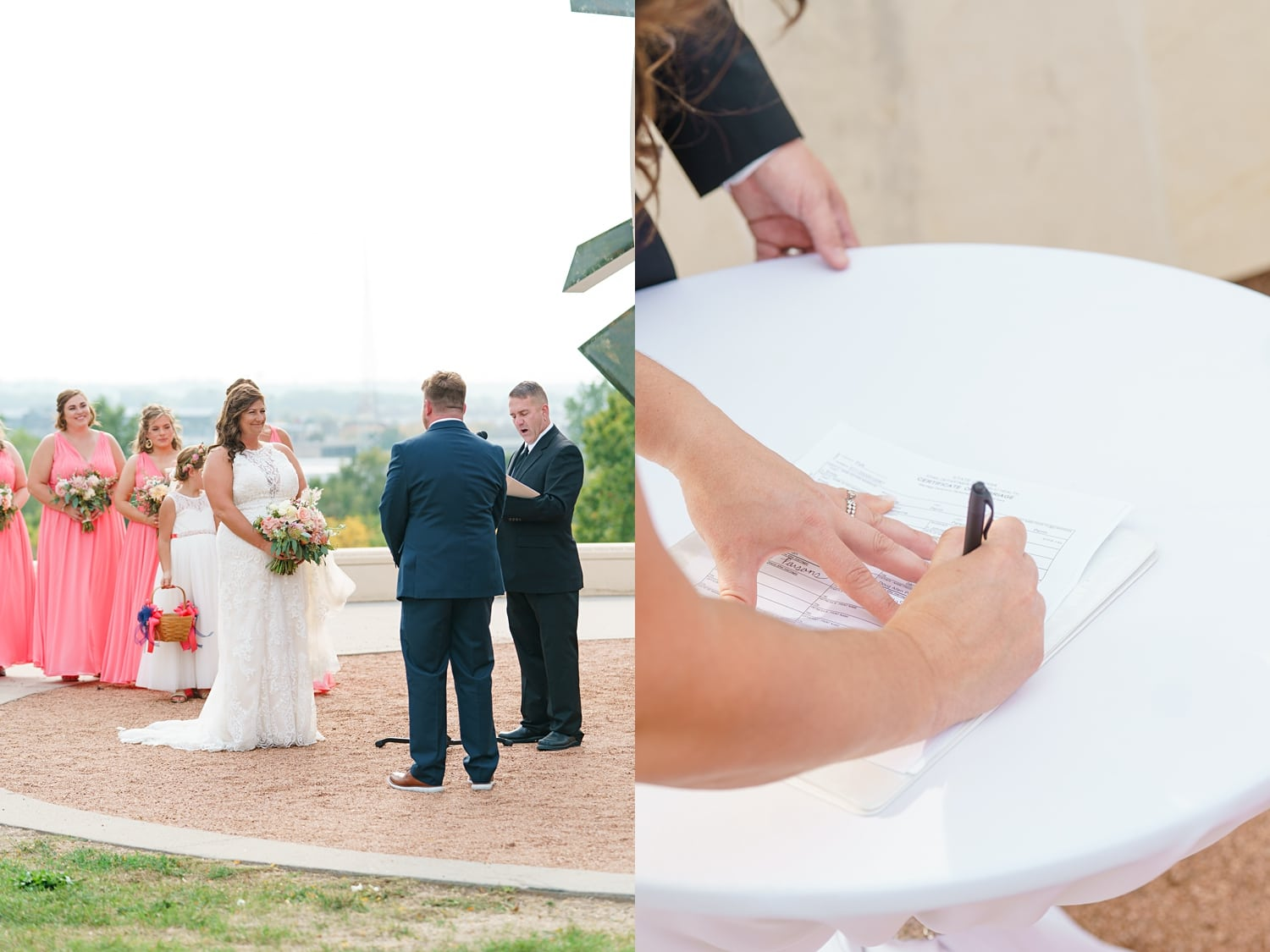 signing the wedding certificate during the ceremony