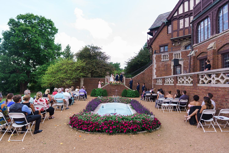 outdoor mansion wedding