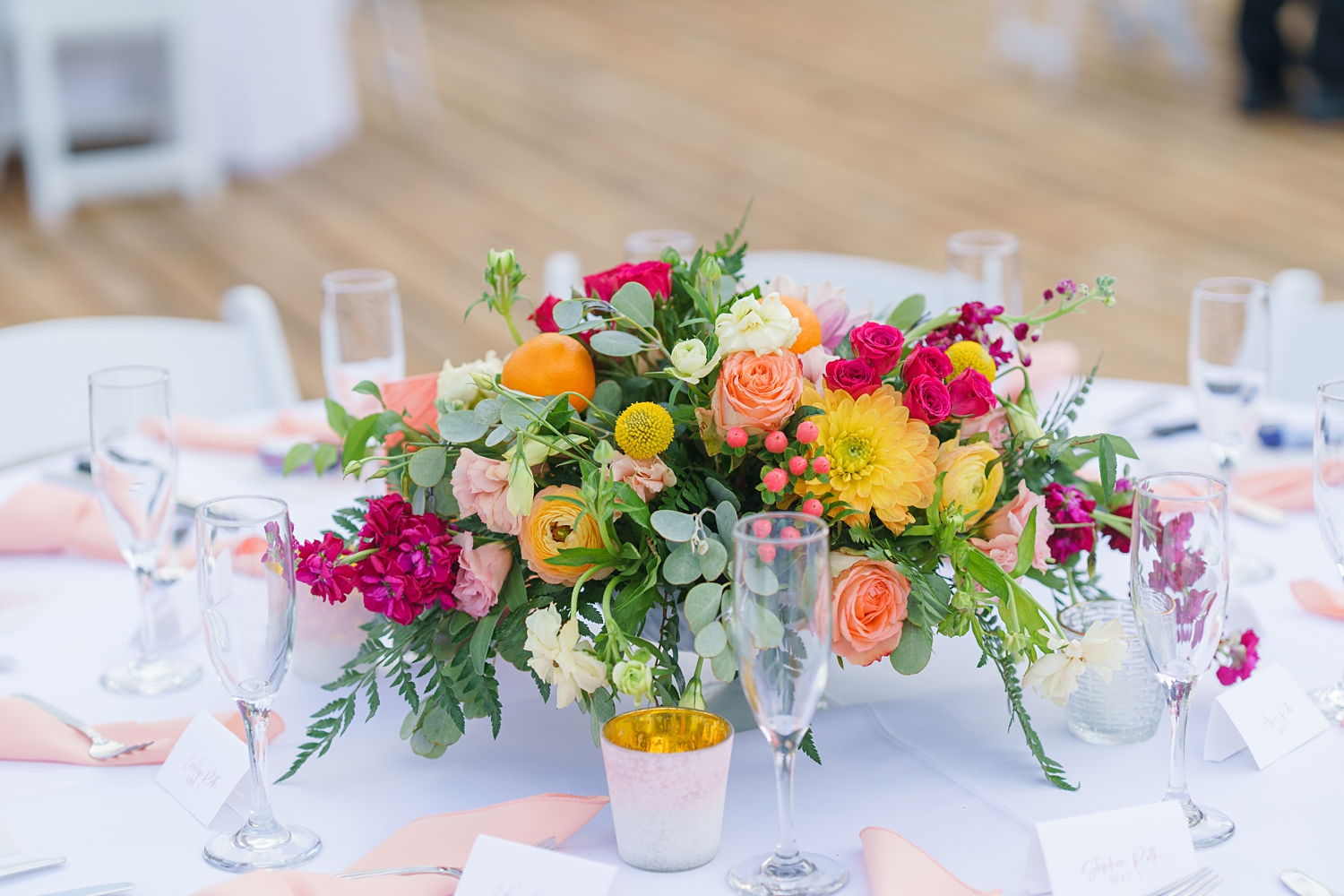 bright wedding florals