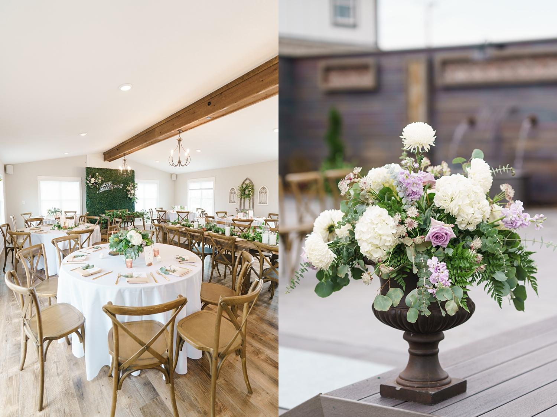 elegant lavender and copper wedding reception details