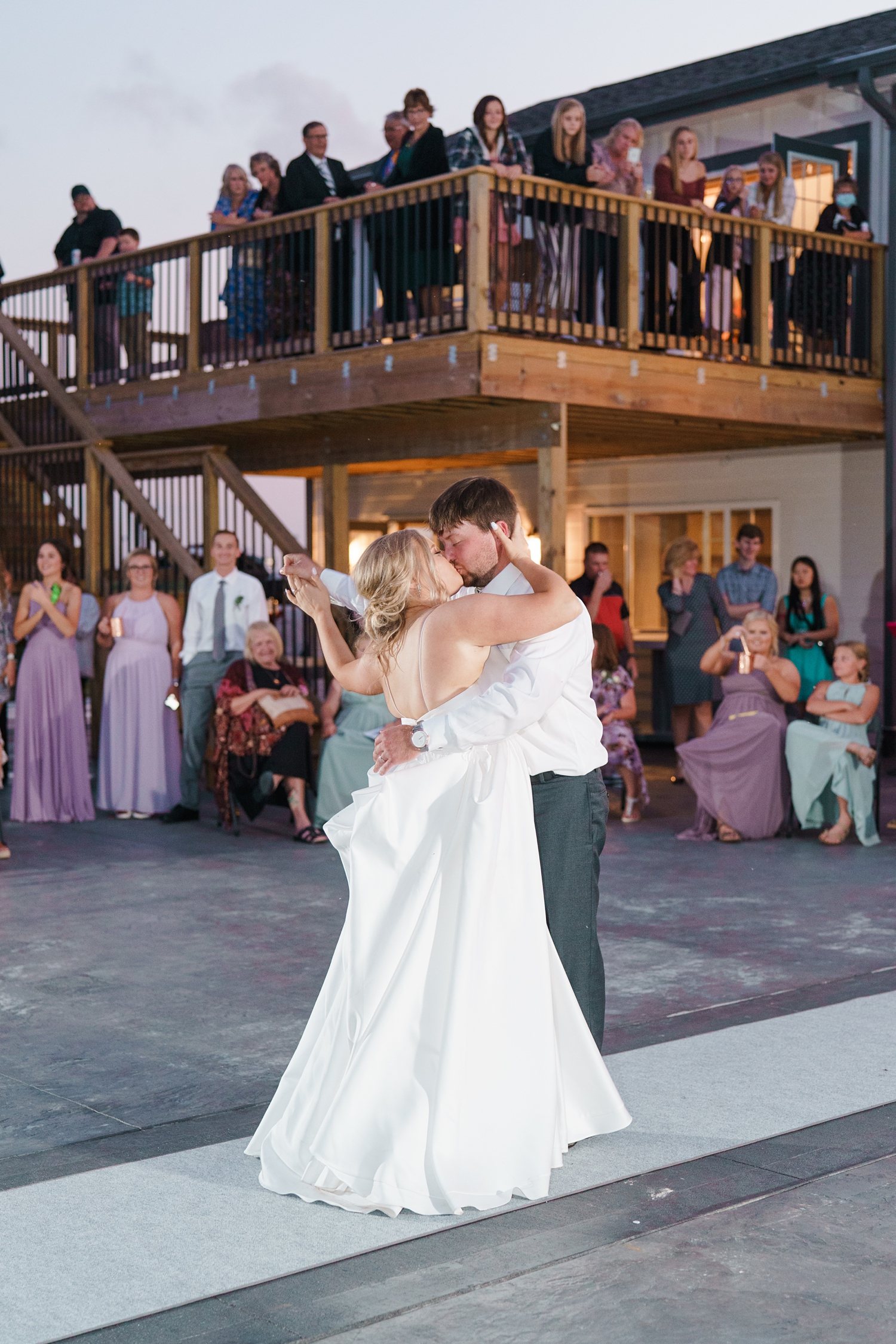 bride and groom first dance alta house newton iowa