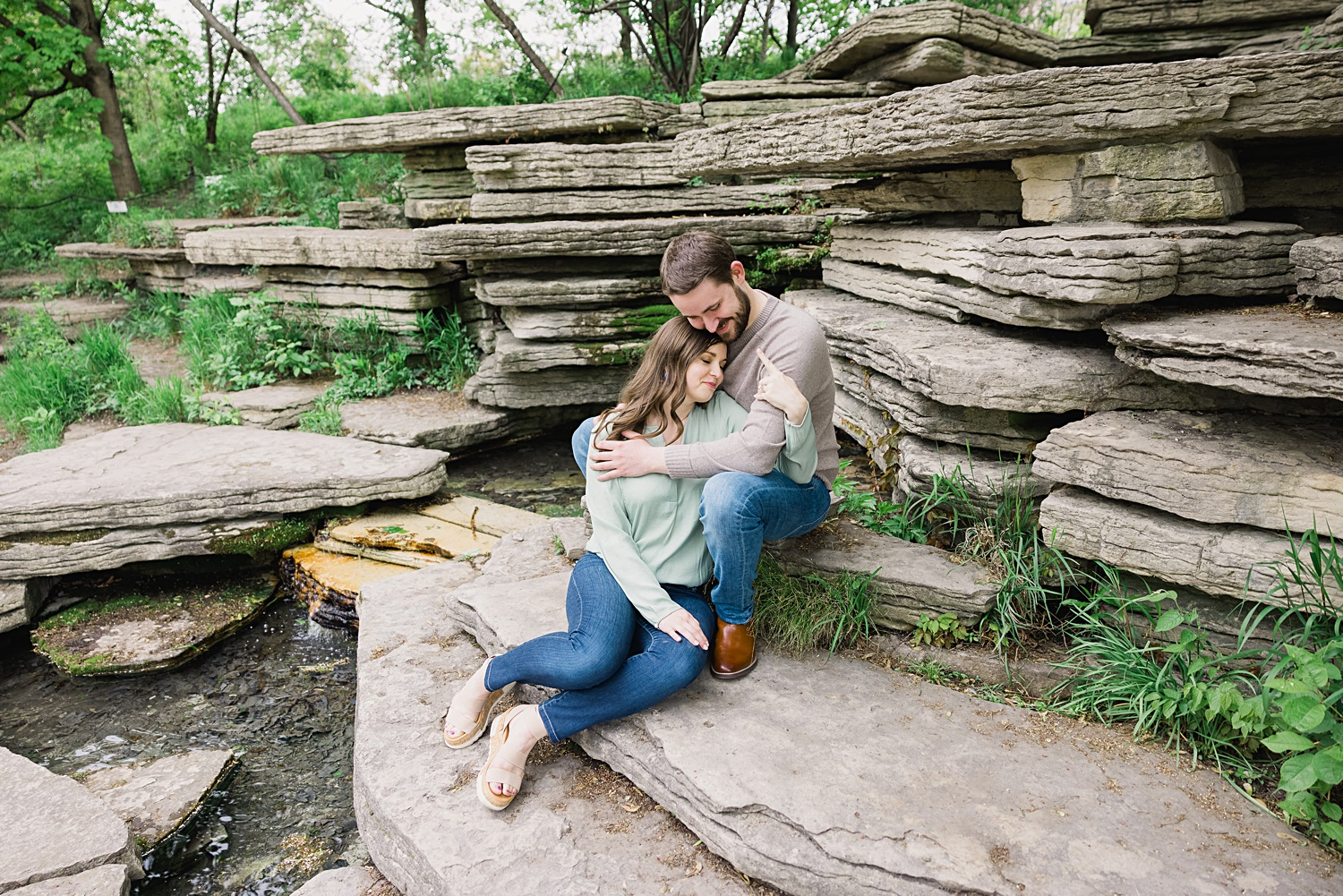 Lincoln Park japanese lily pond engagement photos