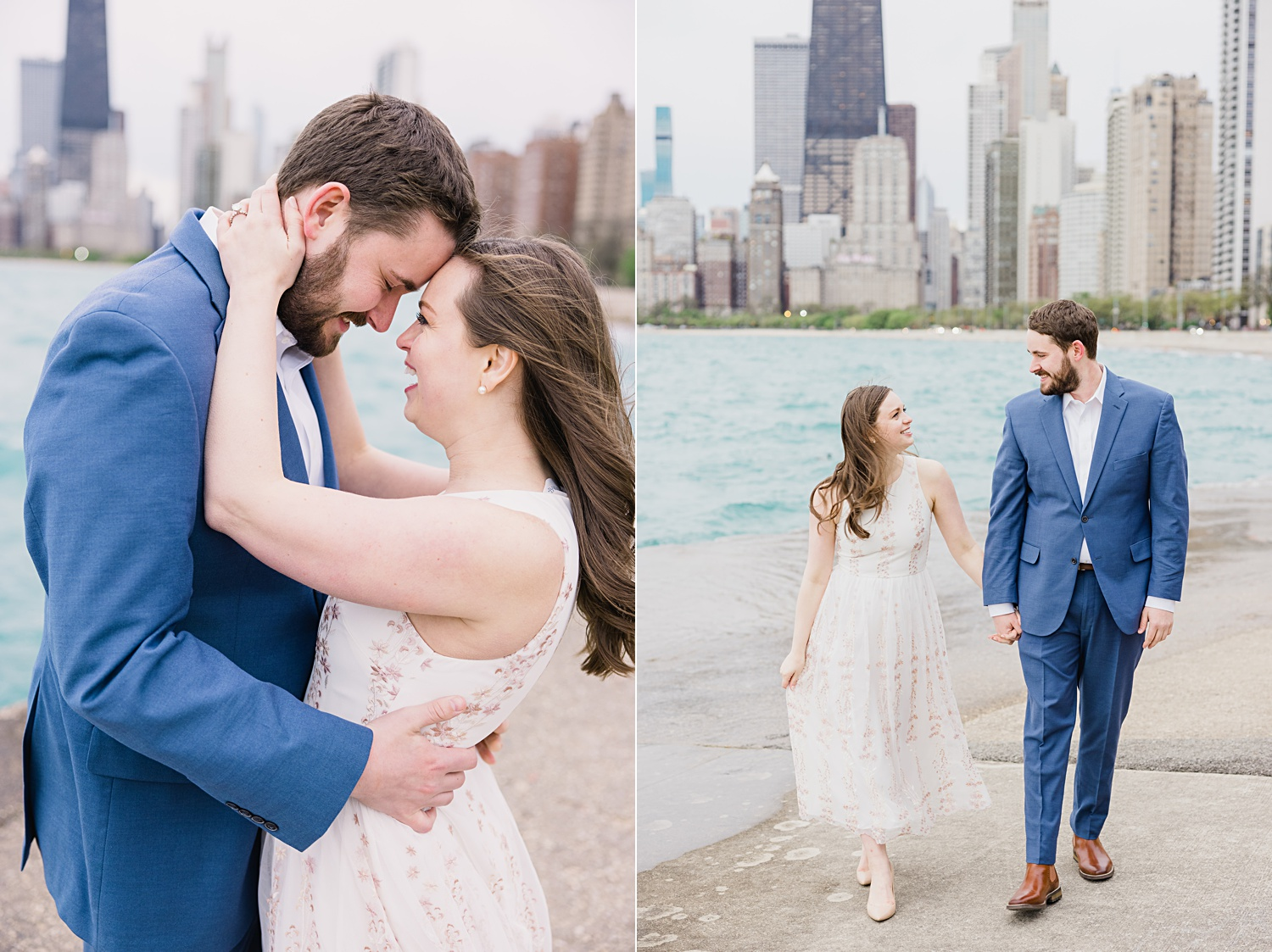 chicago north beach waterfront engagement photos with chicago skyline
