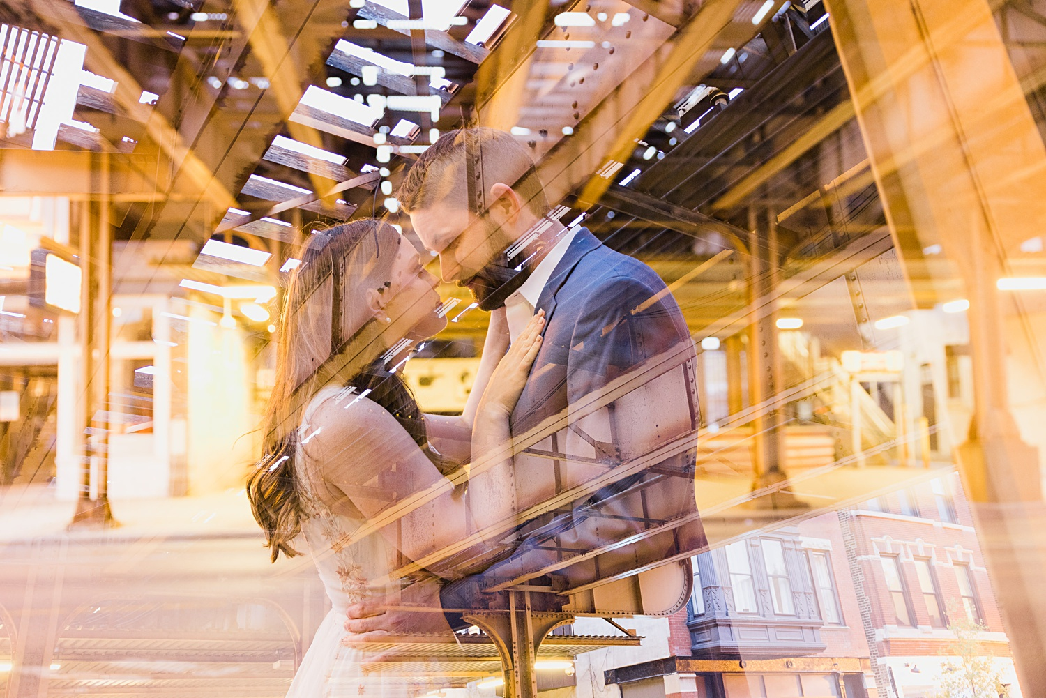chicago engagement session double exposure