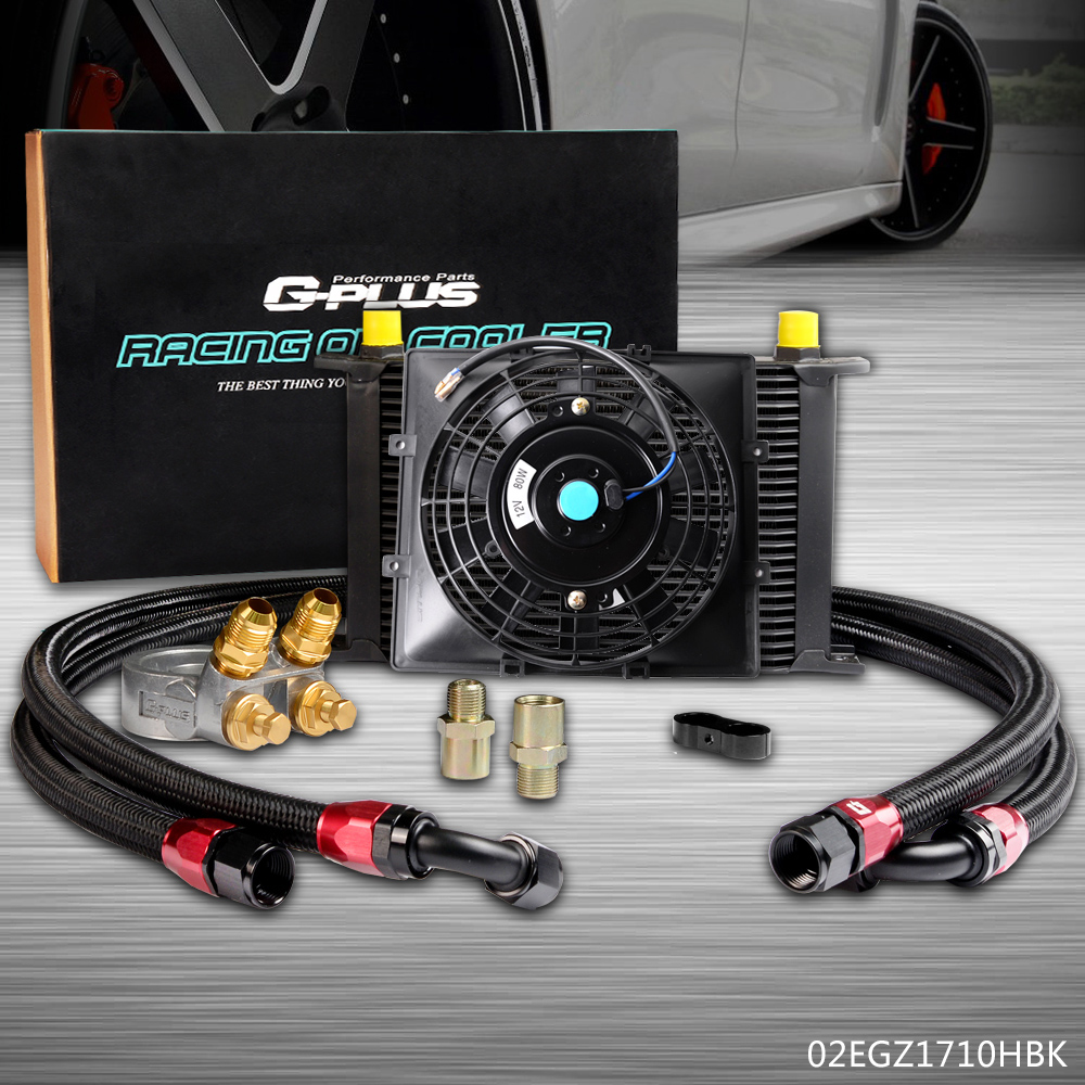 """Universal AN10 25 Row Oil Cooler Thermostat Sandwich 7/"""" Electric Fan kit"""
