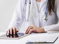Source: freepik; Copyright: freepik; URL: https://www.freepik.com/free-photo/close-up-female-doctor-using-digital-tablet-medical-report-desk_4435676.htm#page=1&query=doctor%20screening&position=29; License: Licensed by JMIR.