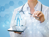 Using technology in medical education. Source: iStock by Getty Images; Copyright: Natali_Mis; URL: https://www.istockphoto.com/ca/photo/doctor-shows-a-virtual-hologram-from-your-tablet-gm920013790-252880205; License: Licensed by the authors.